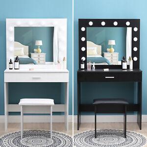 Modern Dressing Table with LED Lights Mirror Vanity Makeup Desk Stool Set