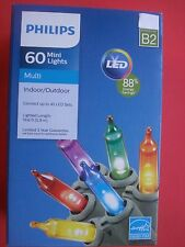 PHILIPS LED LIGHTS STRING MULTI COLORED CHRISTMAS 60 MINI LIGHTS NEW