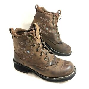GUC Women's Ariat ProBaby Lacer Riding Boots Lace up Brown Sz 7.5