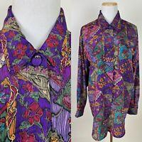 VTG 90s Grape Purple Patchwork Quilt Print Blouse L Floral Boho Colorful Relaxed