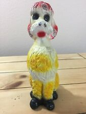 "Poodle Chalkware Statue Carnival Prize Vintage Figurine 8"" Tall"