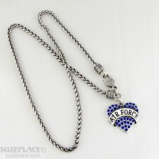 NEW AIR FORCE BLUE CRYSTAL HEART CHARM SILVER NECKLACE HEART CLASP MILITARY