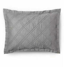 Threshold Gray Vintage Wash Linen Blend Quilted Pillow Standard Sham NEW