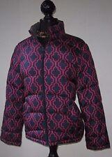 Lands End Women's Puffer Coat Jacket Blue Purple Print Size M 8 10 Excellent