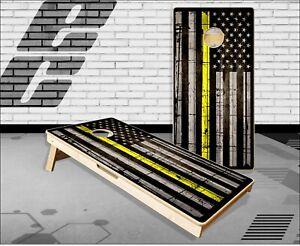 Thin Yellow Line Flag Wood Cornhole Boards Bean Bag Toss Game