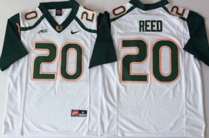 Men's Miami Hurricanes White #20 REED Stiched Custom Jersey