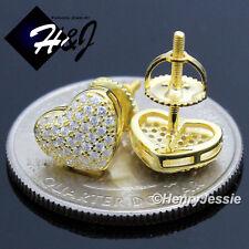 WOMEN 925 STERLING SILVER GEMSTONE HEART SHAPE SCREW BACK GOLD STUD EARRING*G121