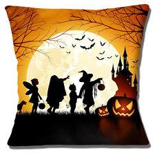 """NEW HALLOWEEN SCENE CHILDREN PUMPKINS CASTLE MOON BATS 16"""" Pillow Cushion Cover"""