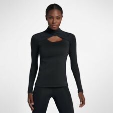 Women's Nike Pro WARM High Crossover Neck Running Top Black Size Small