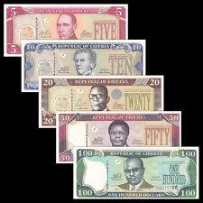 Liberia Set 5 PCS, 5 10 20 50 100 Dollars, 2003-2011, P-26 27 28 29 30, UNC