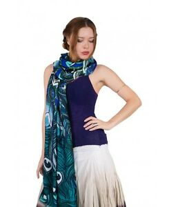 Aqua Peacock Feathers Women's Scarf, Shawl or Wrap, 100% Cotton Scarf