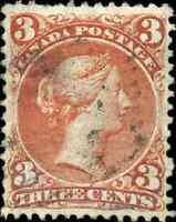 Canada #25 used VF HR 1868 Queen Victoria 3c red Large Queen CV$50.00