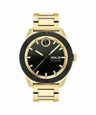 New Movado Bold Sport Black Dial Yellow Gold Tone Steel Mens Sport Watch 3600605