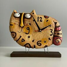 Cat clock, desk clock, designer clock, table clock, paper mache, home decor