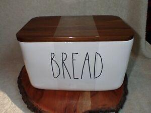 BREAD Rae Dunn Farmhouse Ceramic Box Bin w/ Wood Lid