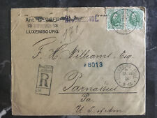 1904 Luxembourg Cover to Parnassus PA USA Red Wax Seals Registered