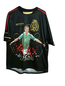 Men's X-LARGE  Black Mexico Chicharito Soccer Team Short Sleeve T-shirt(#c8