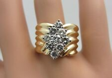 14K Yellow Gold 0.90 ct Diamond Wide Band Ring cluster