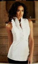 NWOT BOSTON PROPER TOP Shirt Ruffle trim halter racer back stretchy SZ 4 fitted