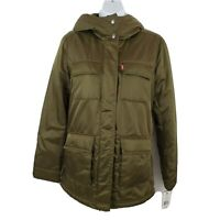 Levi's Women's Army Green Sherpa Lined Hooded Ski Jacket Size S NEW