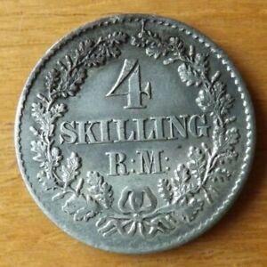 Denmark Silver 4 Skilling Coin 1871 EF Grade Superb Toned Lustre Scarce.....