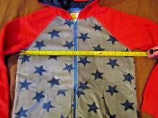 BOYS MINI BODEN HOODIE AGE 9 10 YEARS GREY RED BLUE STARS DESIGN BANG ON TREND