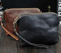 Mens Vintage Genuine Leather Shoulder Messenger handBag  small phone purse bag
