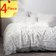 Linen House White Somers Bed Cover | Detailed Cotton Chenille | 4 Piece Set