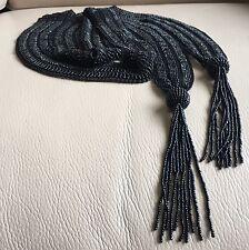 Antique Vintage 1920 Deco Black Glass Bead Knitted Sautoir Tassel Necklace 205cm