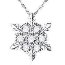 Women Silver Frozen Snowflake Necklace Rhinestone Crystal Pendant Chain Jewelry