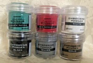 Ranger Embossing Powder Garden Patina, Red Geranium, White, Black, Silver, Gold
