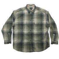 Eddie Bauer Bainbridge Flannel Long Sleeve Plaid Button Up Shirt Mens XL Green