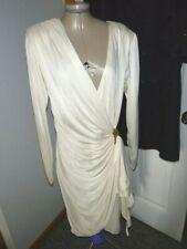 Susan Roselli for Vijack Vintage Draped Ivory Beaded Wrap Dress Size 11/12