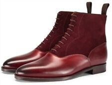 New Handmade Mens BURGUNDY WELTED ANKLE DRESS BOOTS, Men ankle boots