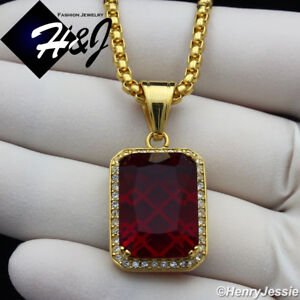 """24""""MEN Stainless Steel 3mm Gold Box Link Chain Necklace BLING Ruby Pendant*GP98"""