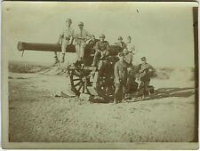 PHOTO ANCIENNE - VINTAGE SNAPSHOT - MILITAIRE CANON ARME SOLDAT GUERRE -MILITARY