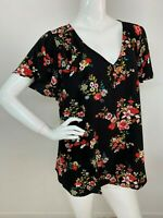 Woman Plus 3X Black Multi Color Floral Flutter Sleeve Blouse Shirt Top Boho NWT