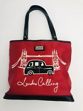 Lulu Red Black Purse London Calling Cab Taxi Bridge Patent Trim Embroidery Lined