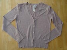 MANGO ladies lilac fine knit ruffle shoulder autumn cardigan LARGE UK 12