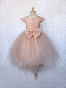 Rustic Pink Blush Cap Sleeve French Lace 3 Layer Tulle Junior Gown 2 4 6 8 10 12