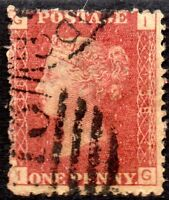 1870 SG 43 1d rose-red 'IG' Plate 138 with Numeral Cancellation