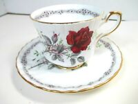 Royal Stafford Roses to Remember cup and saucer Red/Burgandy Rose