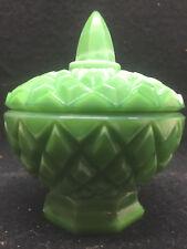 Green Milk Jadeite glass Candy dish coffee sugar bowl mustard pot art honey jade