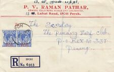 STRAITS SETTLEMENTS :1949 BMA overprints15c pair on envelope from IPOH to Penang