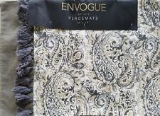 "Envogue PAISLEY FLORAL Set of 4 Placemats 14""x19"" ~Tan Beige & Grey NEW Tassels"