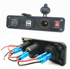 Digital Voltmeter+12V Cigarette Lighter Socket +Dual USB Charger w/Rocker Switch