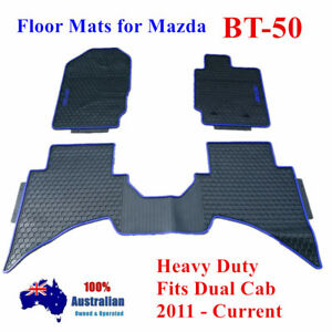 Blue Rubber Waterproof Floor Mats Customized for Mazda BT-50 Dual Cab 11 - 2018