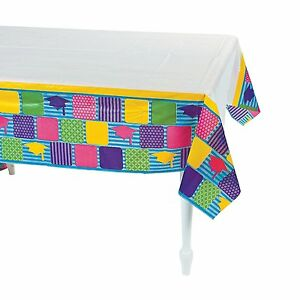 "Graduation Table Cover, Neon Grad Party Supplies 54"" x 108"" Plastic Tablecloth"