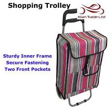 Shopping Trolley Pink Stripe Folding Bag Wheels New lightweight Cart Luggage