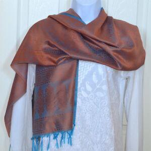 Banaras Silk Rust Orange Woven Turquoise Floral Design Shawl, Wrap, Stole